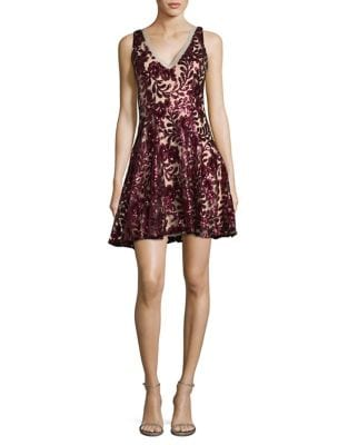 Floral Sequined A-Line Dress by Belle Badgley Mischka