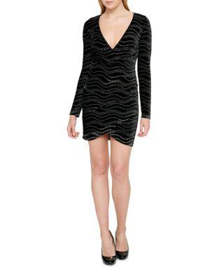 Wavy Velvet Bodycon Dress by Guess