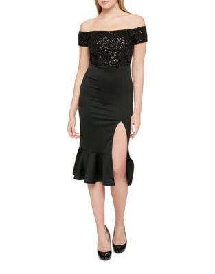 Sequin Slit Bodycon Dress by Guess