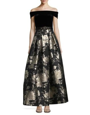 Off-The-Shoulder Jacquard Ball Gown by Eliza J