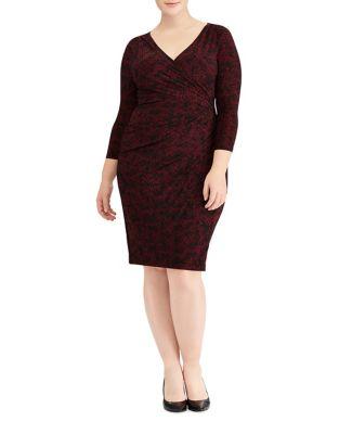 Plus Three-Quarter Sleeve Wrap Dress by Lauren Ralph Lauren