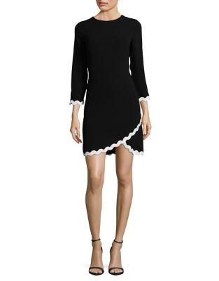 Three-Quarter Sleeve Scallop Trim Dress by Shoshanna