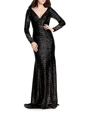 Long Sleeve Beaded Gown by Theia