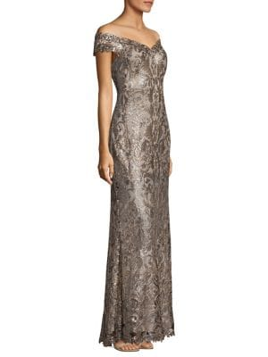 Off-the-Shoulder Sequin Gown by Tadashi Shoji
