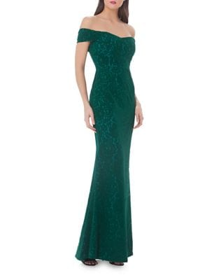 Off-The-Shoulder Velvet Gown by JS Collections