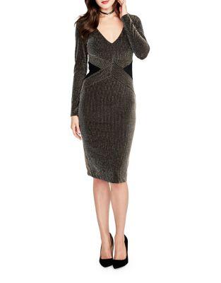 Striped Long-Sleeve Sheath Dress by RACHEL Rachel Roy