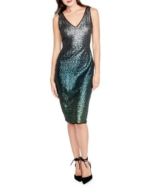 Sequined Ombre Sheath Dress by Halston Heritage