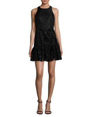 Sleeveless Velvet Fit-&-Flare Dress by Aidan Aidan Mattox