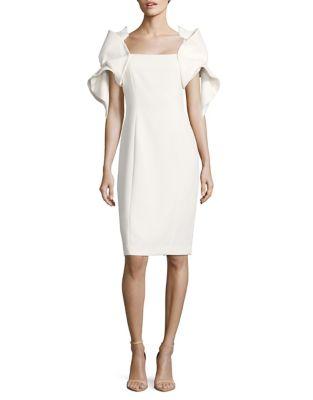 Origami-Sleeve Sheath Dress by Badgley Mischka Platinum