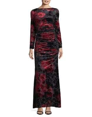 Floral Velvet Column Gown by Adrianna Papell