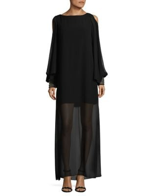 Chiffon Beaded Cape Gown by Laundry by Shelli Segal