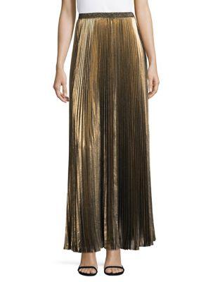 Metallic Accordion Full-Length Skirt 500087620582