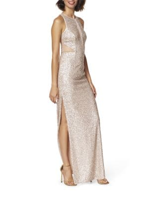 Sleeveless Sequin Illusion Gown by Aidan Aidan Mattox