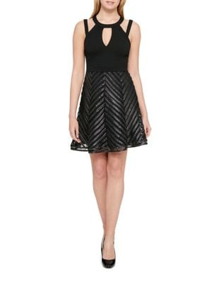 Chevron Fit-&-Flare Dress by Guess
