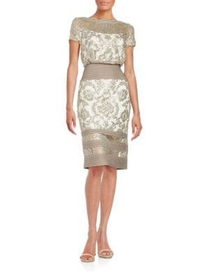 Paillette Embroidered Lace Blouson Dress by Tadashi Shoji