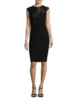 Cap Sleeve Ribbed Knee-Length Dress by Betsy & Adam