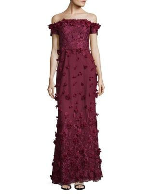 Floral Off-the-Shoulder Column Gown by Marchesa Notte