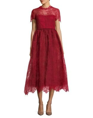 Short-Sleeve Tea-Length Gown by Marchesa Notte