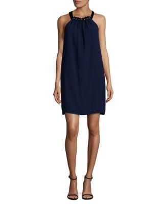 Embellished Halter Shift Dress by BCBGMAXAZRIA