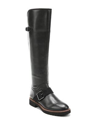 Cutler Knee-High Stacked Heel Leather Boots by Franco Sarto