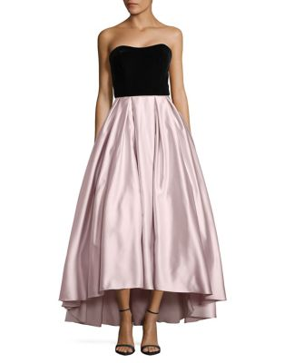 Strapless Hi-Lo Satin Gown by Betsy & Adam