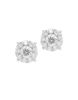 1.05 TCW Bouque Diamond and 14K White Gold Stud Earrings