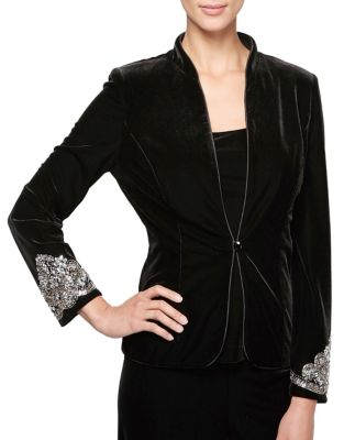 Two-Piece Embellished Velvet Jacket and Tank Top by Alex Evenings