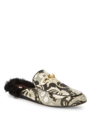 Floral Brocade Faux Fur Mules by Ted Baker London