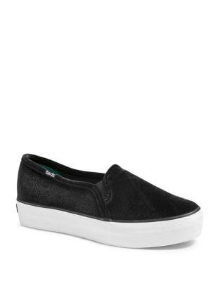 Triple Decker Velvet Slip-On Sneakers by Keds