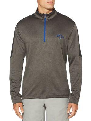 Big & Tall Opti-Therm Heathered Waffle Fleece Mid-Layer Pullover Golf Jacket 500087646859