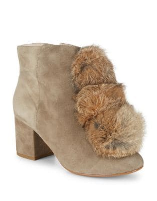Fox Fur-Trimmed Leather Ankle Boots by Cecelia New York