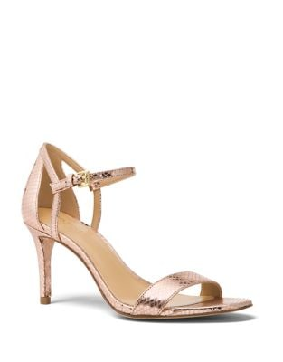 Simome Snake Print Leather Ankle-Strap Pumps 500087653741