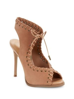 Hot Stuff Whipstitched Leather Lace-Up Sandals by Nine West