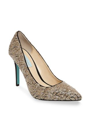 Clair Satin Embellished Pumps by Betsey Johnson
