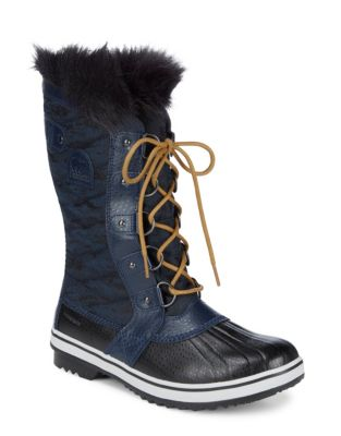 Tofino Canvas and Faux Fur Boots by Sorel