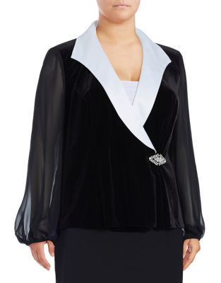 Plus Mesh Sleeve Velvet Blouse by Alex Evenings