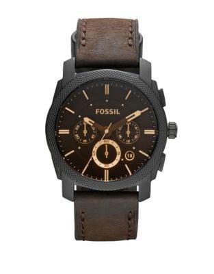 Machine Chronograph Leather-Strap Bracelet -  Fossil
