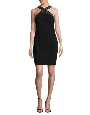 Embellished Halter Sheath Dress by Calvin Klein