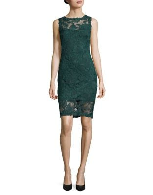 Sleeveless Floral Lace Sheath Dress by Theia