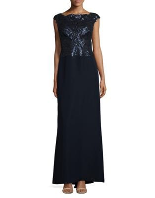 Sequined Floor-Length Gown by Tadashi Shoji