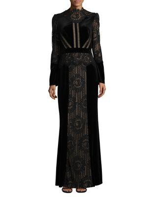 Laced Velvet Column Gown by Tadashi Shoji