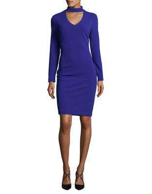 Long Sleeve Choker-Neck Dress by Calvin Klein