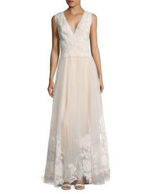 Laced V-Neck Floor-Length Gown by Tadashi Shoji