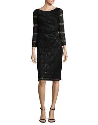 Sunray-Pleat Lace Sheath Dress by Eliza J
