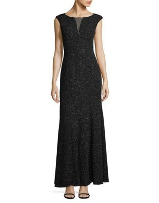 Illusion-V Speckle Sheath Gown by Eliza J