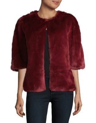 Faux Fur Two-Way Wrap Jacket by Adrianna Papell