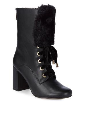 Freya Faux Fur-Trim Leather...