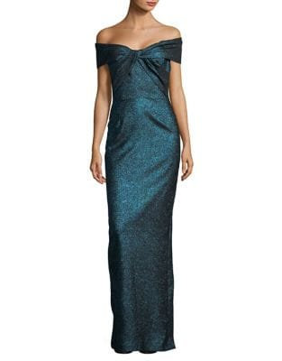 Off-The-Shoulder Front Twist Gown by Teri Jon
