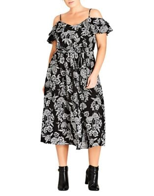 Plus Bloomsbury Cold-Shoulder Dress by City Chic