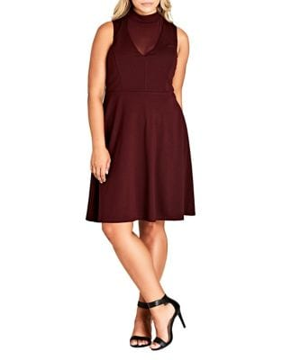 Plus Sheer Neck A-Line Dress by City Chic